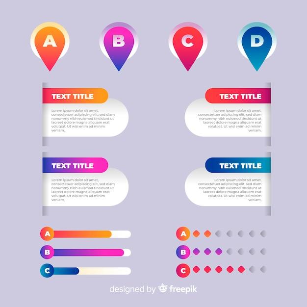 Modèle D'infographie Dégradé Avec Des Lettres Vecteur gratuit