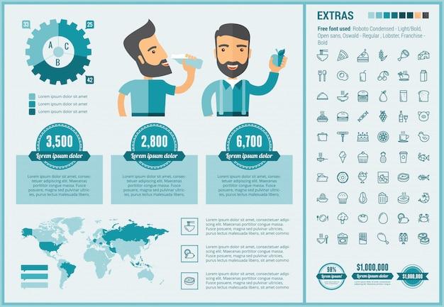 Modèle D'infographie Design Plat Alimentaire Et Ensemble D'icônes Vecteur Premium