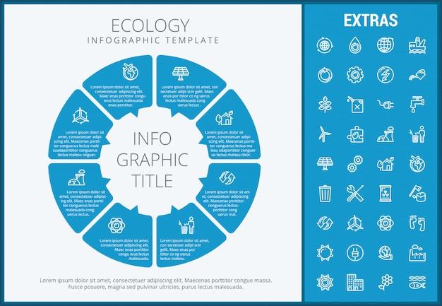 Modèle d'infographie écologie, des éléments et des icônes Vecteur Premium