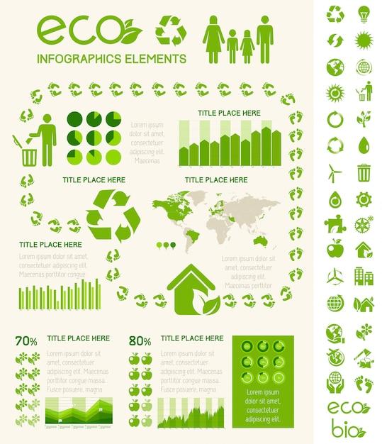 Modèle d'infographie d'écologie. Vecteur Premium