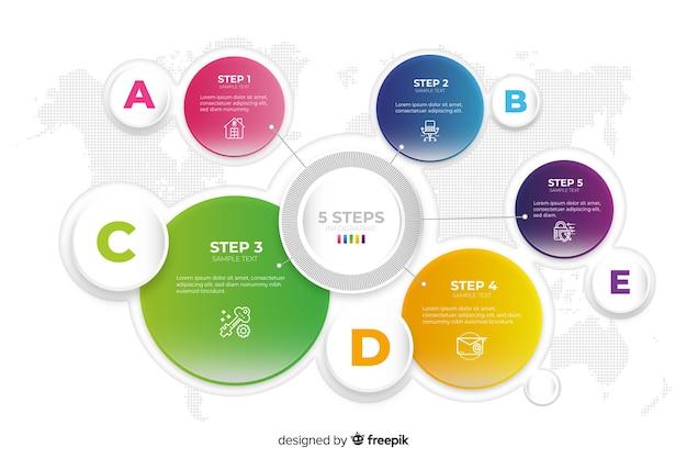 Modèle d'infographie avec des éléments colorés Vecteur gratuit