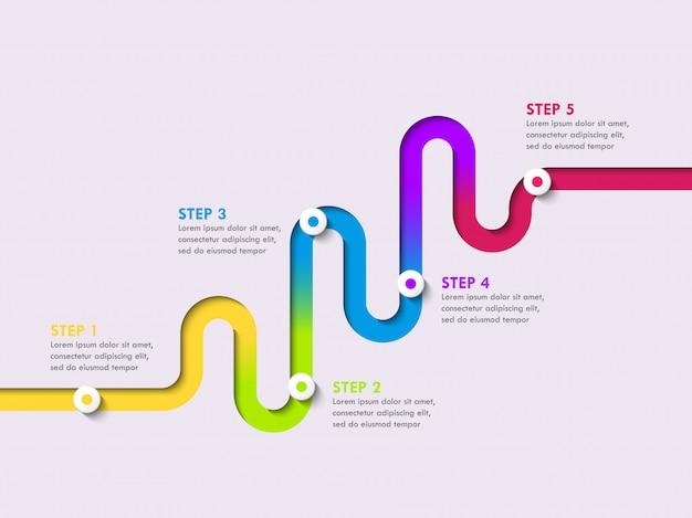 Modèle d'infographie d'emplacement de chemin avec une structure en plusieurs phases. serpentine élégant sous la forme de lignes de flèches Vecteur Premium