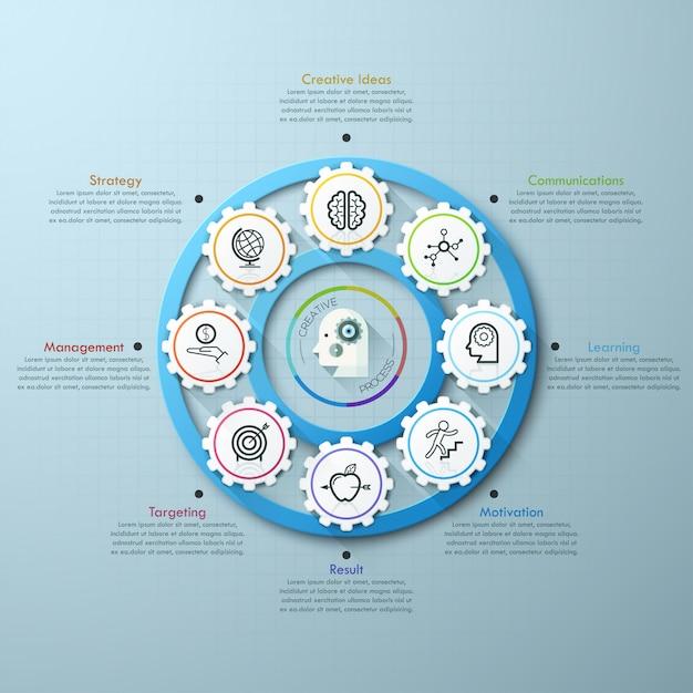 Modèle d'infographie engrenage timeline business Vecteur Premium