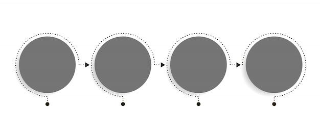 Modèle D'infographie D'entreprise. Chronologie Avec 4 étapes De Flèche Circulaire, Quatre Options De Nombre. élément De Vecteur Vecteur Premium