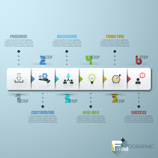 Modèle d'infographie entreprise chronologie. illustration vectorielle Vecteur Premium