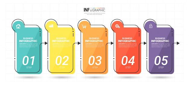 Modèle D'infographie D'entreprise En Cinq étapes Vecteur Premium