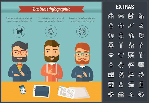 Modèle d'infographie de l'entreprise et des éléments. Vecteur Premium