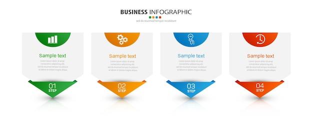Modèle D'infographie D'entreprise Avec Des Icônes Et 4 Options Ou étapes Vecteur Premium