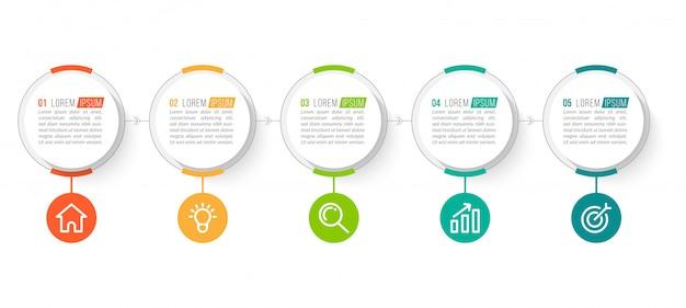 Modèle D'infographie D'entreprise Minimale Avec 5 étapes Vecteur Premium