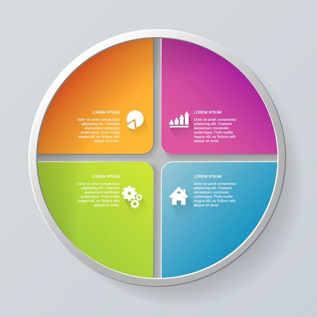 Modèle D'infographie D'étapes D'élément De Segment De Cercle Multicolore étapes Modèle D'infographie. Vecteur gratuit