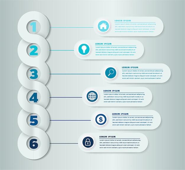 Modèle d'infographie avec étiquette de bannière de papier 3d Vecteur Premium