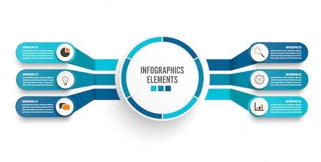 Modèle d'infographie avec étiquette en papier 3d Vecteur Premium