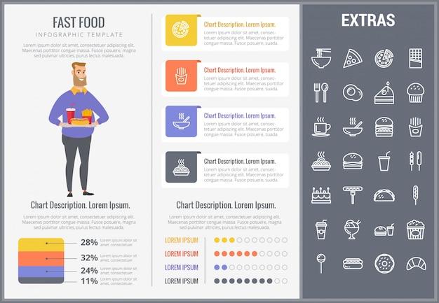 Modèle D'infographie Fast Food Et Ensemble D'icônes Vecteur Premium