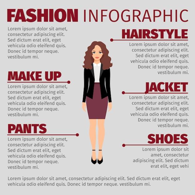 Modèle d'infographie femme jupe violette fashion Vecteur Premium