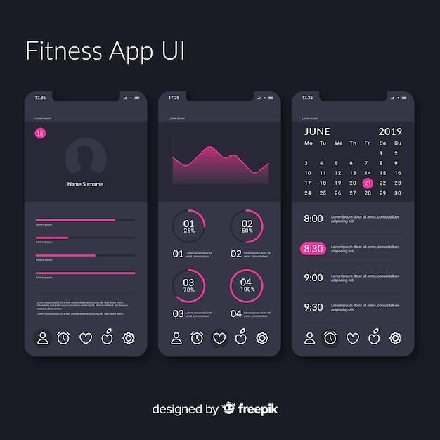Modèle D'infographie De Fitness App Mobile Vecteur gratuit