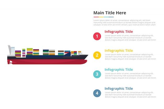 Modèle d'infographie gros conteneur de navire avec quatre points Vecteur Premium