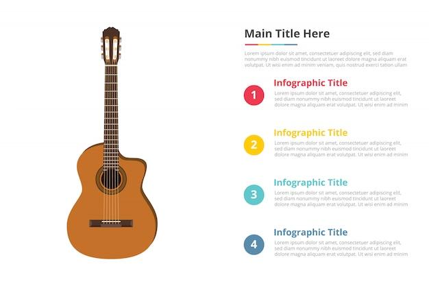 Modèle D'infographie Guitare Classique Avec 4 Points Vecteur Premium