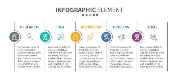 Modèle d'infographie avec des icônes et 5 options ou étapes Vecteur Premium