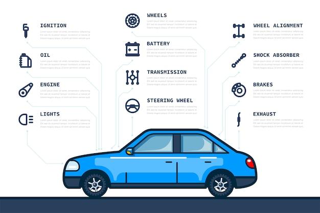 Modèle D'infographie Avec Des Icônes De Pièces De Voiture Et De Voiture Vecteur Premium