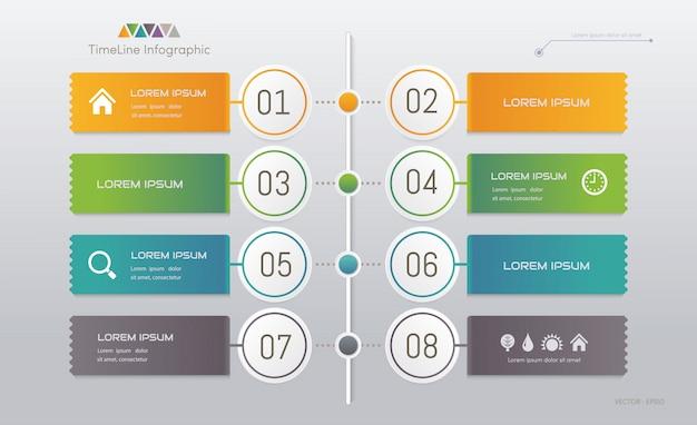 Modèle d'infographie avec des icônes Vecteur Premium