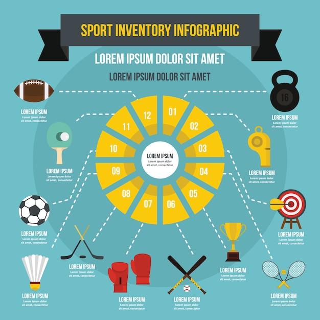 Modèle d'infographie d'inventaire sportif, style plat Vecteur Premium