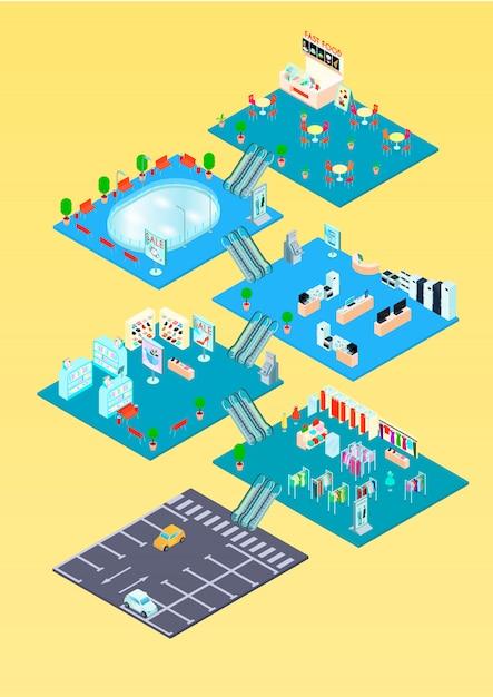 Modèle d'infographie isométrique de centre commercial avec plan d'étage à l'intérieur des intérieurs et illustration vectorielle de stationnement diagramme Vecteur gratuit
