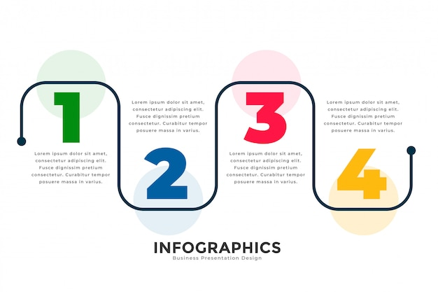 Modèle d'infographie de ligne moderne élégant quatre étapes Vecteur gratuit