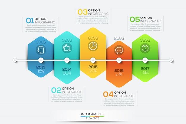 Modèle d'infographie avec ligne de temps et 5 éléments hexagonaux connectés Vecteur Premium