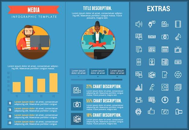 Modèle d'infographie de média, des éléments et des icônes Vecteur Premium