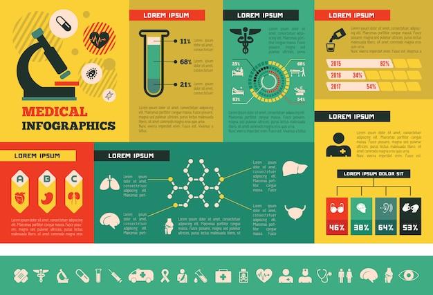Modèle d'infographie médicale. Vecteur Premium