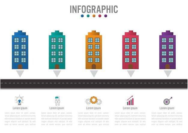 Modèle d'infographie métier avec 5 bâtiments Vecteur Premium