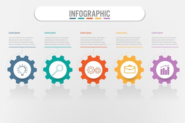 Modèle d'infographie métier avec 5 options de vitesse Vecteur Premium