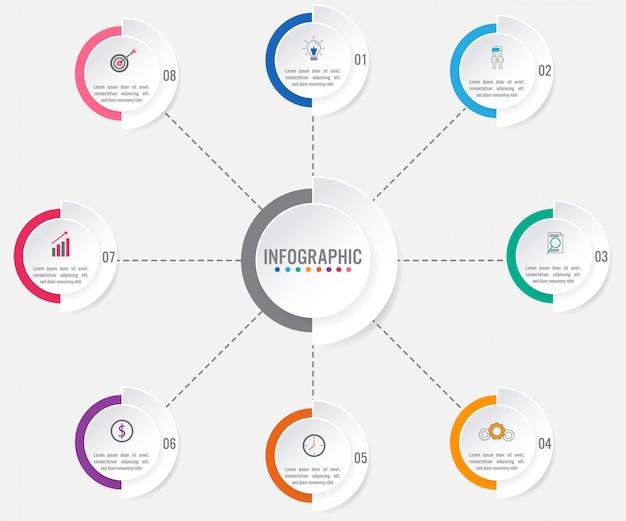 Modèle d'infographie métier avec 8 options Vecteur Premium