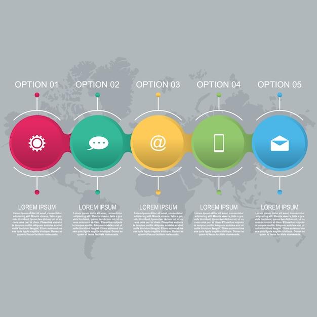 Modèle d'infographie métier abstrait encerclé cercle connecté Vecteur Premium