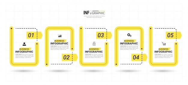 Modèle D'infographie Métier En Cinq étapes Vecteur Premium