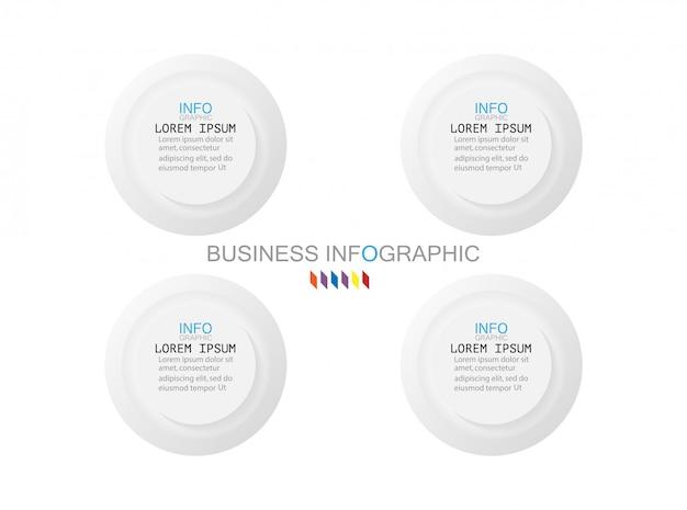 Modèle d'infographie métier le concept est cercle étape 4 option avec couleur Vecteur Premium