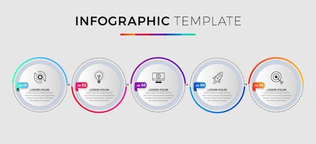 Modèle D'infographie Métier. Conception De Ligne Mince Avec Numéros 5 Options Ou étapes. Vecteur Premium