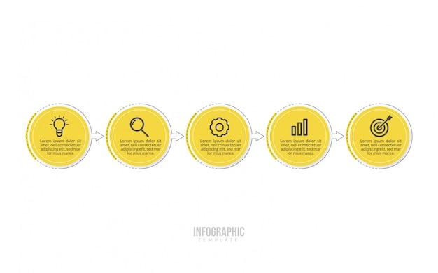 Modèle d'infographie métier minimal Vecteur Premium