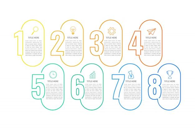 Modèle d'infographie métier, modèle de ligne mince avec option ou étape de nombres 8 Vecteur Premium