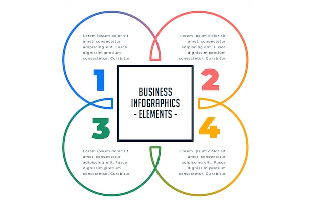 Modèle d'infographie métier en quatre étapes Vecteur gratuit