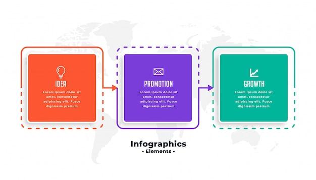 Modèle d'infographie métier en trois étapes Vecteur gratuit