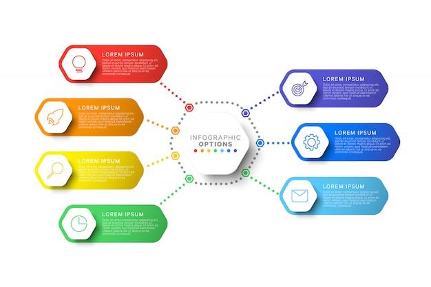 Modèle d'infographie de mise en page sept étapes avec éléments hexagonaux Vecteur Premium