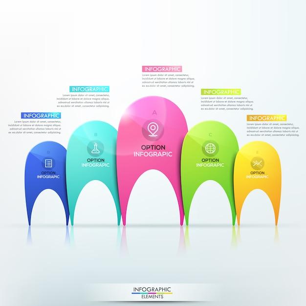 Modèle d'infographie moderne avec 5 éléments multicolores distincts de différentes tailles Vecteur Premium