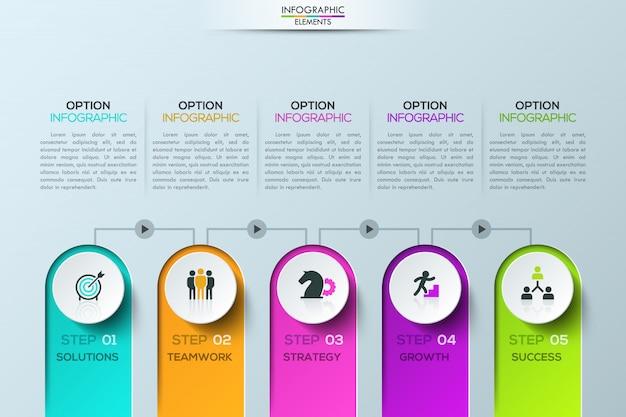 Modèle d'infographie moderne, 5 éléments reliés par des lignes avec des boutons de jeu Vecteur Premium