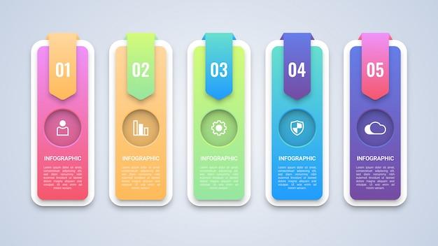 Modèle d'infographie moderne en 5 étapes Vecteur Premium