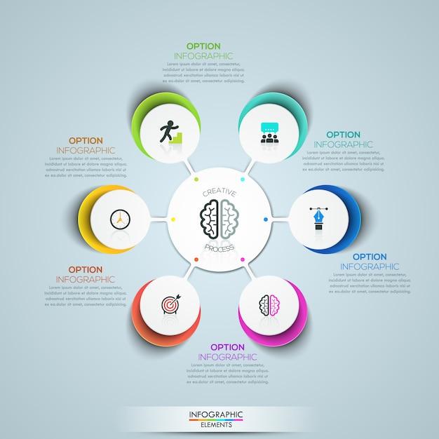 Modèle d'infographie moderne, diagramme de pétale de fleur circulaire Vecteur Premium