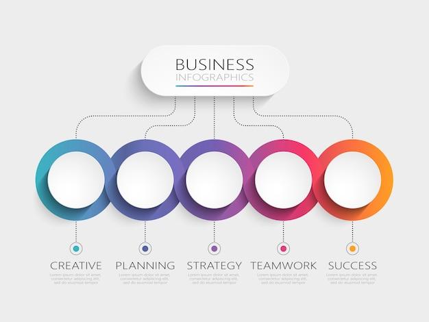 Modèle d'infographie moderne avec étapes Vecteur Premium