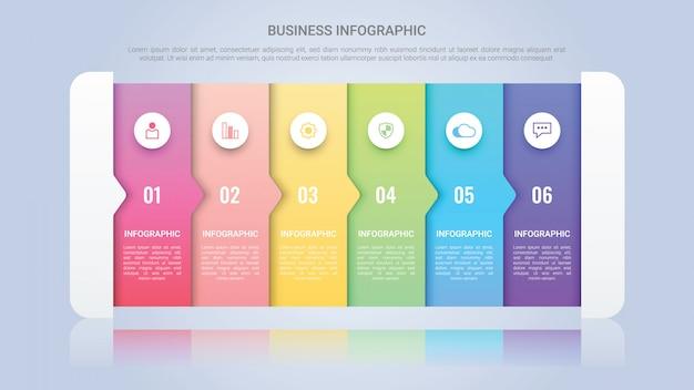 Modèle d'infographie moderne pour entreprise avec une étiquette multicolore en six étapes Vecteur Premium