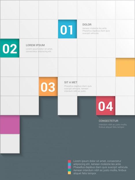 Modèle D'infographie Multicolore Simple Style élégant Damier 4 étapes. Vecteur gratuit