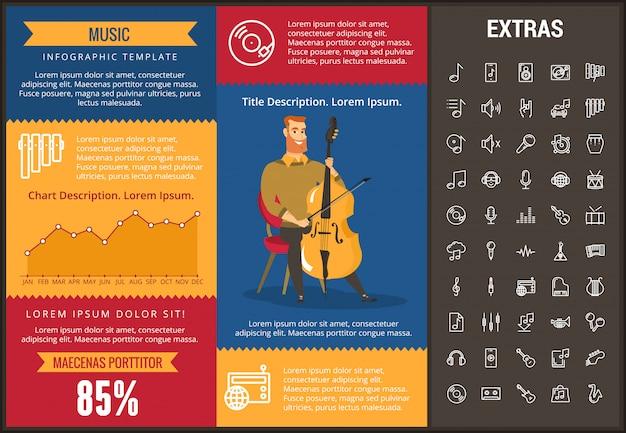 Modèle d'infographie de la musique, des éléments et des icônes Vecteur Premium